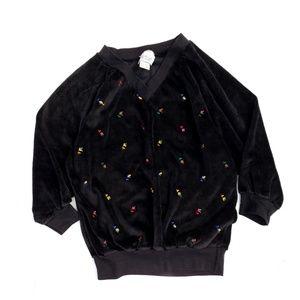 Vintage Black Velour Floral Embroidered Crop Top